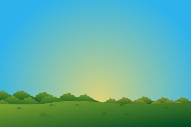 Grüner dschungelhintergrund mit landschaft des blauen himmels