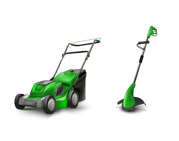 Grüner elektrischer rasenmäher rasenmäher