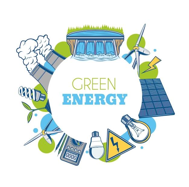 Grüner energievektor runder rahmen. öko-umwelt