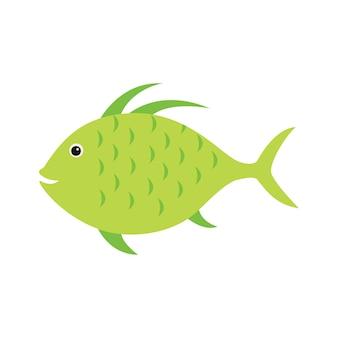 Grüner fisch, gestreifter aquarium exotischer fisch tropische meeresfische.