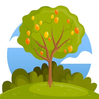 Grüner flacher design-mangobaum