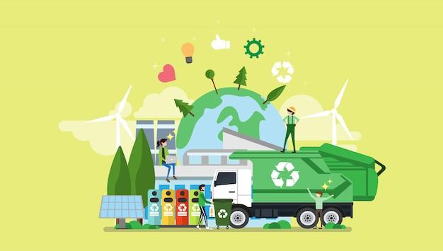 Grüner freundlicher stadt-kleiner leute-charakter eco