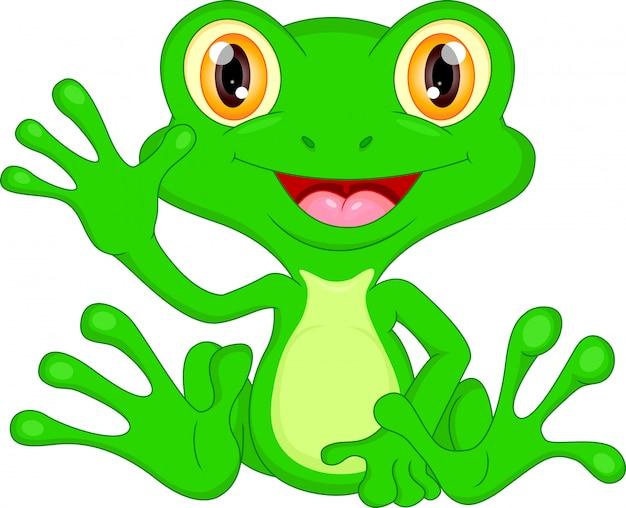 Grüner frosch-karikaturwellenartig bewegen