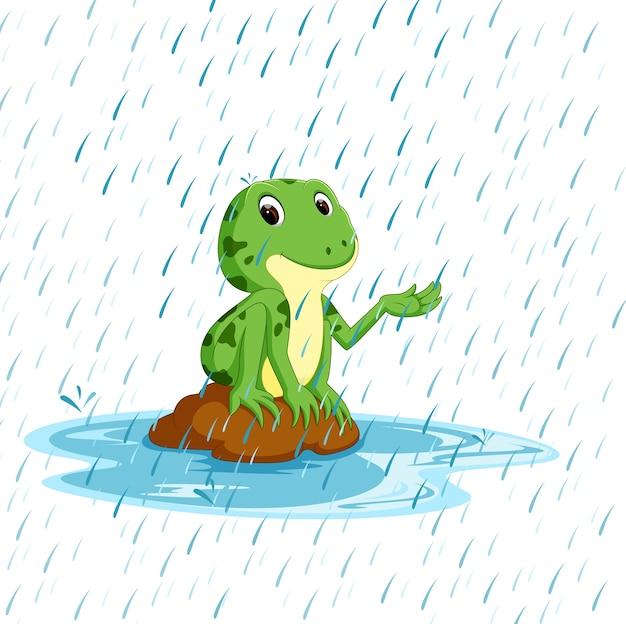 Grüner frosch mit glücklichem lächeln