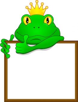 Grüner froschkarikatur und leeres zeichen