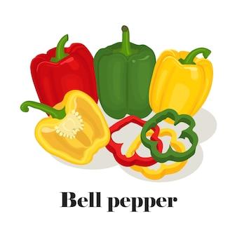 Grüner, gelber und roter paprika. ganz, scheibe und hälfte auf weißem hintergrund. gesundes essen
