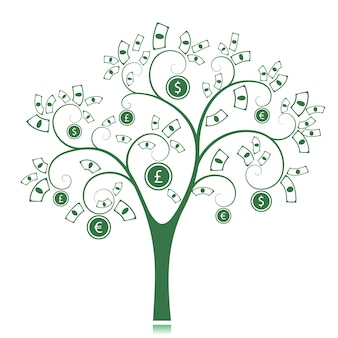 Grüner geldbaumschattenbild lokalisiert