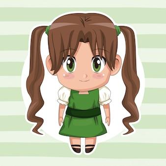 Grüner gestreifter hintergrund mit kreisrahmen und nettem animemädchen mit langer zopffrisur