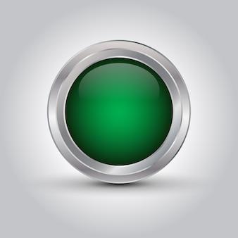 Grüner glänzender netzknopf oder -hintergrund mit schatten