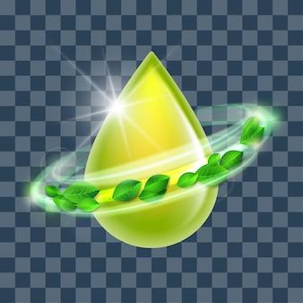 Grüner glänzender tropfen mit grünen blättern, konzeptionelle umgebung. illustration von biodieseltröpfchen, benzin, öl, symbol für natürliche flüssigkeiten. biokraftstoffkonzept