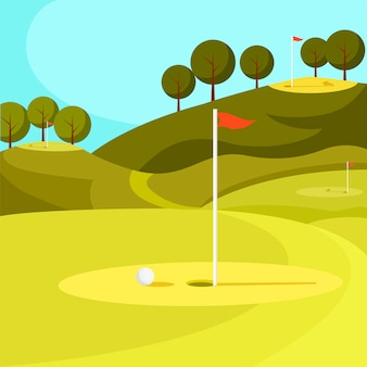 Grüner golfplatz mit loch und roter fahne. vektor.
