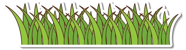 Grüner grasaufkleber auf weißem hintergrund