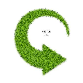 Grüner graspfeil auf weißem hintergrund. öko-zeichen für nachhaltige entwicklung oder recycling-symbol. 3d-illustration
