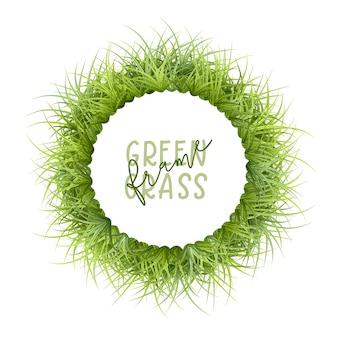 Grüner grasrahmen lokalisiert auf weiß