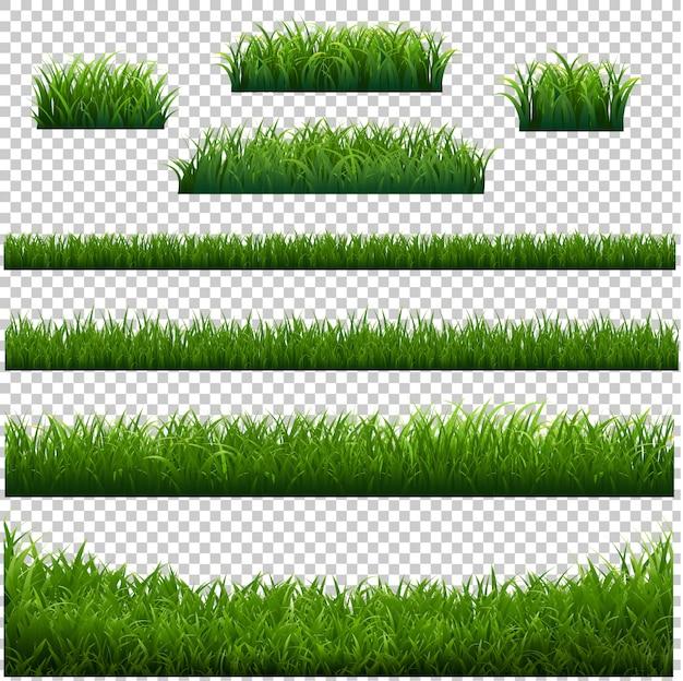 Grüner grasrahmen mit transparentem hintergrund