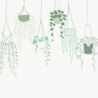 Grüner hängender pflanzenvektorhintergrund im topf