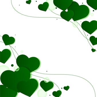 Grüner herzseitenrandhintergrund