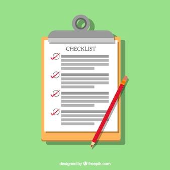 Grüner hintergrund mit checkliste, bleistift und zwischenablage