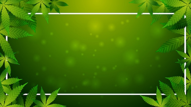 Grüner hintergrund mit einem rahmen und einem kranz von cannabisblättern