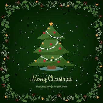 Grüner hintergrund mit weihnachtsbaum