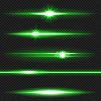 Grüner horizontaler blendenfleckensatz. laserstrahlen, horizontale lichtstrahlen.