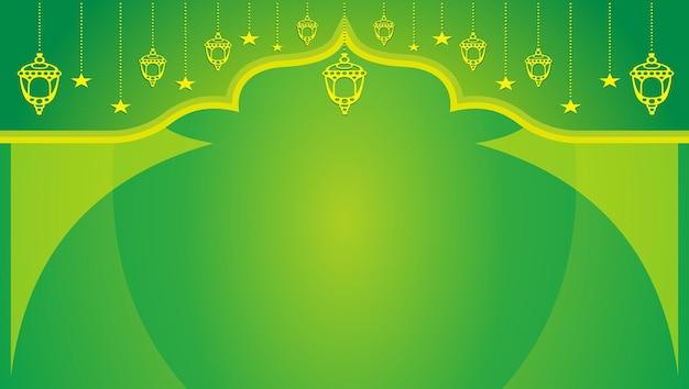 Grüner islamischer horizontaler hintergrund freier vektor