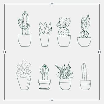 Grüner kaktus in den illustrationen eines topfvektors.