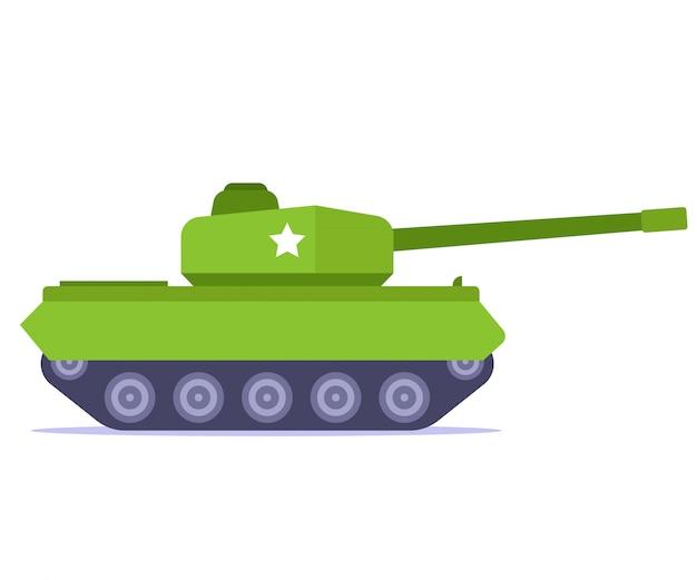 Grüner kampfpanzer auf weißem hintergrund. flache illustration.