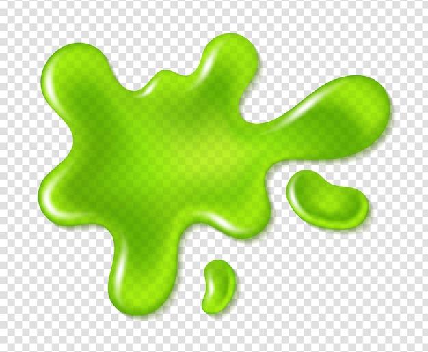 Grüner klecks-spritzer-schleim. realistischer schmutziger schleim, farbtropfen, helle giftige glänzende flüssigkeit, gifttropfen-silhouette-vektorschablone einzeln auf transparentem hintergrund