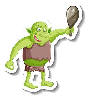 Grüner kobold- oder troll-cartoon-charakter-aufkleber