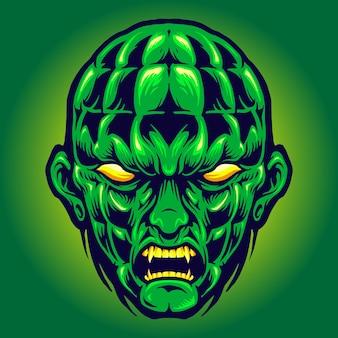 Grüner kopf angry monster halloween vektorillustrationen für ihre arbeit logo, maskottchen-waren-t-shirt, aufkleber und etikettendesigns, poster, grußkarten, werbeunternehmen oder marken.