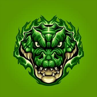 Grüner krokodilkopf