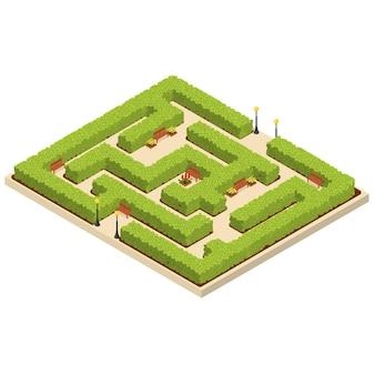 Grüner labyrinth-garten-isometrische ansicht natur-labyrinth geometrisch für konzept-park-platz. vektor-illustration