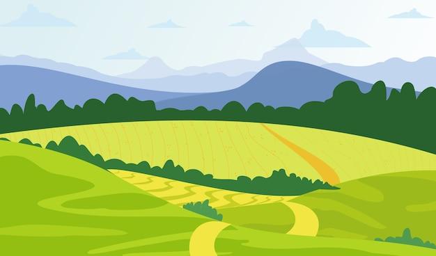 Grüner landschaftshintergrund der illustration mit gelben feldern und bergen.