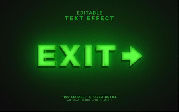 Grüner licht-exit-textstil-effekt