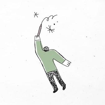 Grüner mann, der karikatur zeichnet