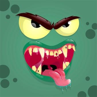 Grüner monster-avatar mit wütendem gesicht