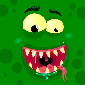 Grüner monster-avatar mit zufriedenem gesicht