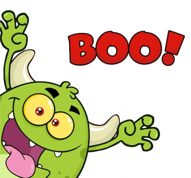 Grüner monster-karikatur emoji-charakter, der erschreckt