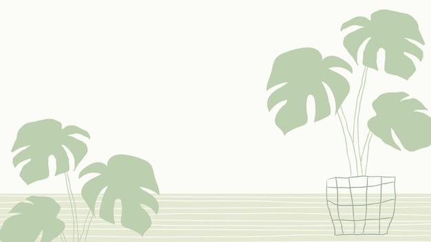 Grüner monstera-pflanzenvektorhintergrund mit leerzeichen