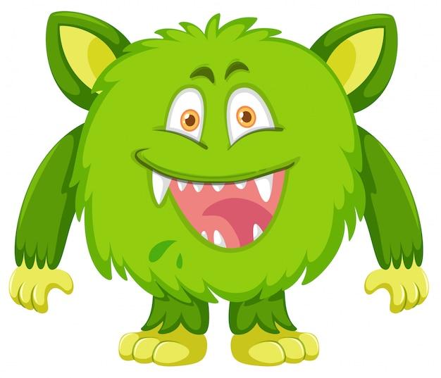 Grüner monstercharakter auf weißem hintergrund