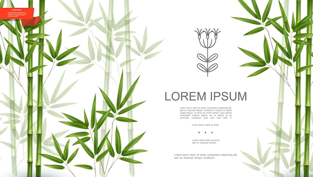 Grüner natürlicher tropischer pflanzenhintergrund mit bambusstämmen und -blättern in der realistischen artillustration