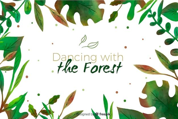 Grüner naturhintergrund mit zitat