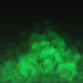 Grüner nebel, schlechter geruch oder giftige rauchwolke lokalisiert auf transparentem hintergrund. realistischer smog-, dunst-, nebel- oder trübungseffekt.