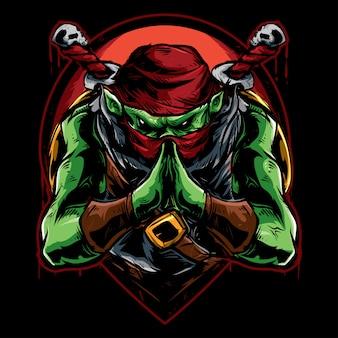 Grüner ninja-attentäter