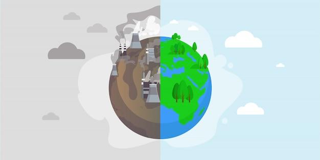Grüner öko-planet und umweltverschmutzungsvektorillustration für sicheres naturschutzkonzept