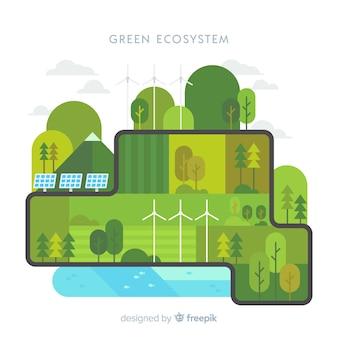 Grüner ökosystem-konzepthintergrund