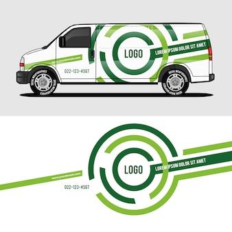 Grüner packwagenentwurf, der aufkleber und abziehbildentwurf einwickelt