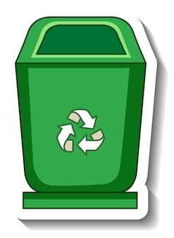 Grüner papierkorb auf weißem hintergrund