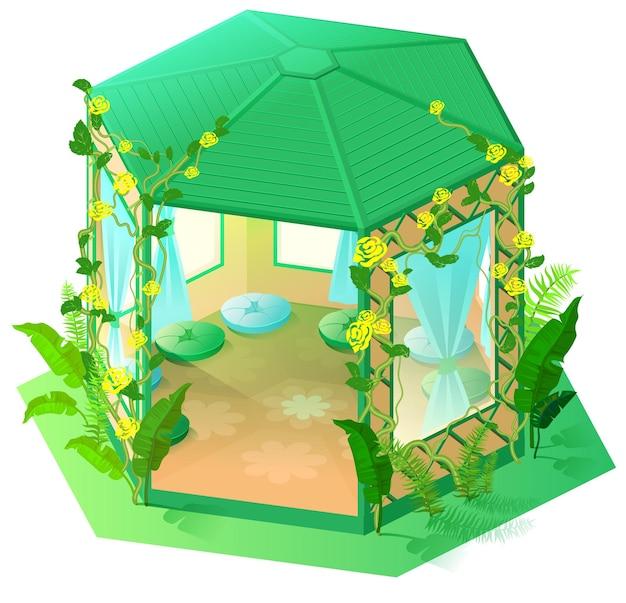 Grüner pavillon gartenarchitektur isometrische 3d-darstellung. cartoon isoliert